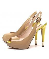 Sandały Damskie Na Szpilce GUESS Beżowo Żółte Skóra Lakier 22 HAIDEN FL2HDE PAT07 BEIGE