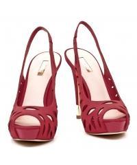 Sandały Damskie Na Szpilce GUESS Czerwone Skórzane 22 FL2HLN LEA07 R