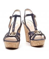 Sandały Damskie GUESS Skórzane Granatowe Na Koturnie 22 FL2HYN LEA3