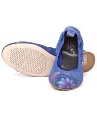 Skórzane Balerinki Damskie Venezia Niebieskie 04 H051 L F BLUE
