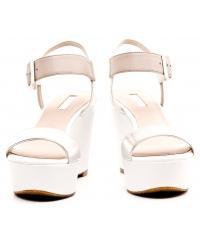Sandały Damskie Na Koturnie GUESS Biało Beżowe Skórzane DEYSI 22 FLDYI2 LEA03 BEIGE
