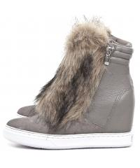Sneakersy Damskie GUESS Beżowe Skórzane FANNY 22 FLFAN4 FUR10 TAUPE