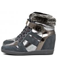 Sneakersy Damskie Armani Jeans Szare Skórzane 30 925022 6A454 ANTRACITE