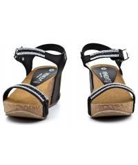 Sandały Damskie Na Koturnie Venezia Czarne Skórzane 2326 P-J NERO