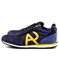 Sneakersy Męskie Armani Jeans Granatowe Skórzane 30 935027 7A420 44135 DARK BLUE