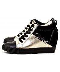 Sneakersy Damskie Clavin Klein Jeans Czarno Złote Rory R0646 GOLD/BLACK