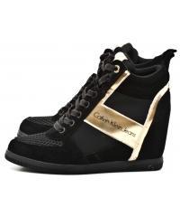 Sneakersy Damskie Calvin Klein Jeans Czarno Złote Beth R0648 BLACK/GOLD