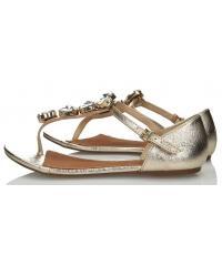 Sandały Damskie 3i Złote Skórzane 10840