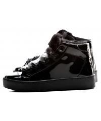 Sneakersy Damskie GUESS Czarne Lakierowane URIALA FLURL3 PAF12 BLACK