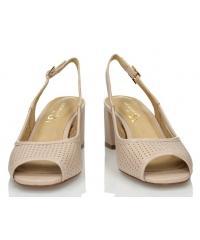 Sandały Damskie 3i Beżowe Skórzane 10731