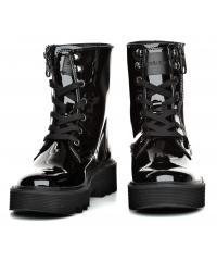 Trzewiki Damskie Calvin Klein Jeans Czarne Skórzane Lakierowane Diahne R0750 BLACK