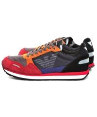 Sneakersy Męskie Emporio Armani Kolorowe X4X215 XL200 A100 SCARLET/PRUS.BLU/BLK