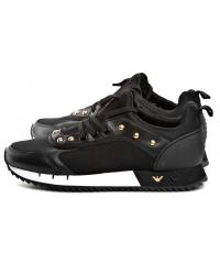 Sneakersy Damskie Emporio Armani Czarne X3X064 XL518 K476 BLACK/LIGHT GOLD