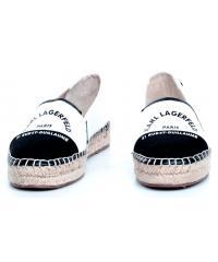 Espadryle Damskie Karl Lagerfeld Białe KL80108 White Canvas w/Black