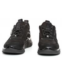 Sneakersy Męskie Karl Lagerfeld Czerń Venture KL51722 20X Black Nubuck Mono