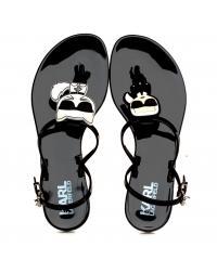 Sandały Damskie Karl Lagerfeld Czarne JELLY KL80002 V00 BLACK RUBBER